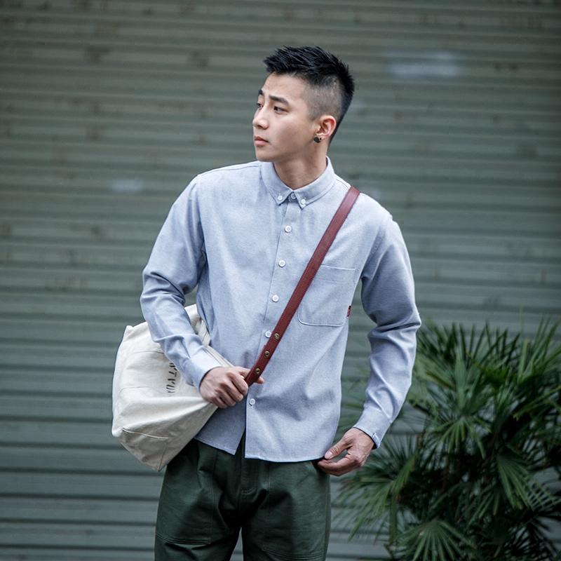 BDCT自制 春季牛津纺纯棉白衬衫男长袖 日系纯色薄款青少年衬衣潮
