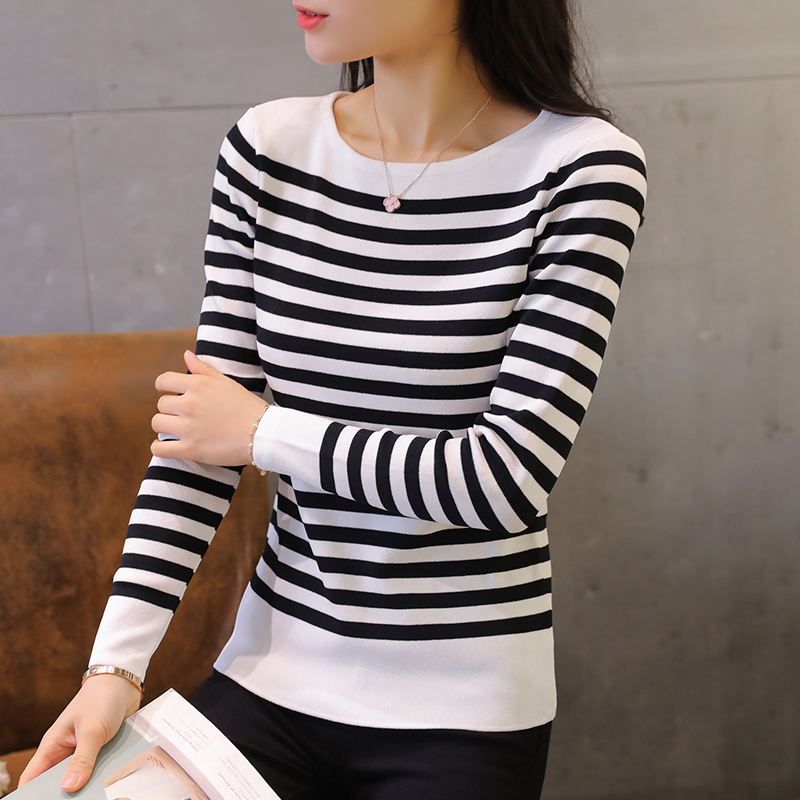 Spring 2018 womens autumn and winter new Korean loose Long Sleeve Striped Top Pullover Sweater womens bottom sweater