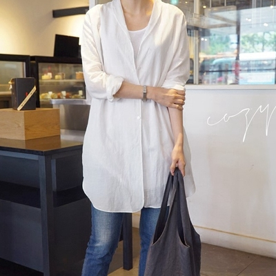 k1019 Korean women's clothing 2021 linen thin loose simple split mid-length spring and summer blouse sunscreen air conditioning