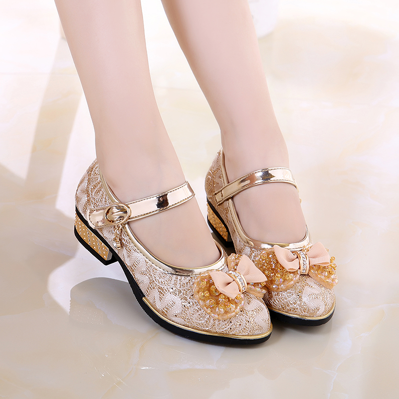 Обувь девочки обувь в больших детей девушка принцесса обувной корейский мягкое дно небольшой на высоком кабгалстук-бабочкае кожаная обувь 2017 весенний и осенний производительность