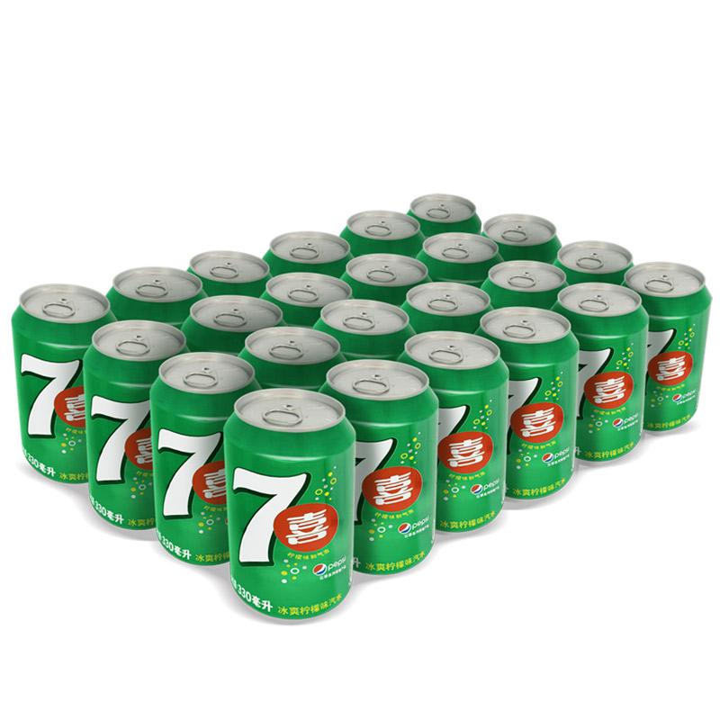 ~天貓超市~七喜 檸檬味碳酸汽水飲料整箱330ml^~24 百事