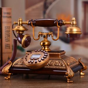 高档仿古欧式复古时尚创意电话机实木金属家用固定座机电话机