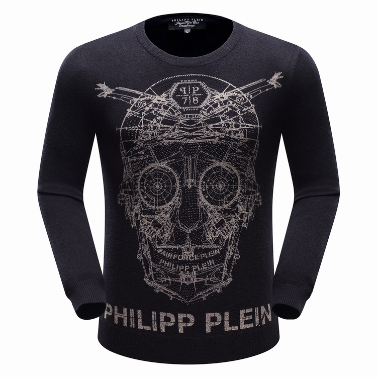 Осень/зима 2016 новый мужской моды головы стразами черепа Philipp Plein высококлассные свитер