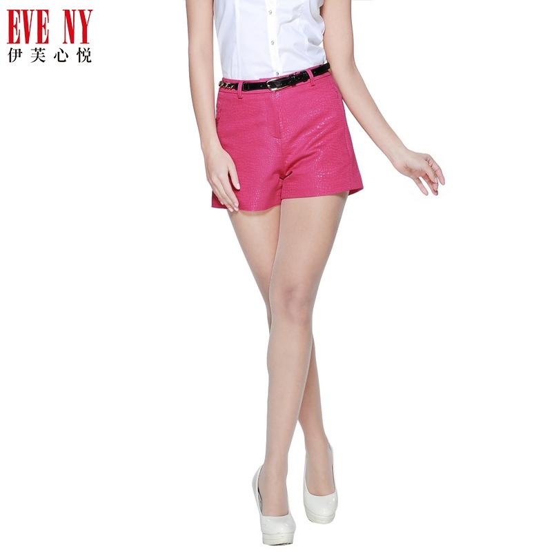 伊芙心悦天猫女装EVENY夏季纯色爆裂纹质感修身短裤吊牌价1080