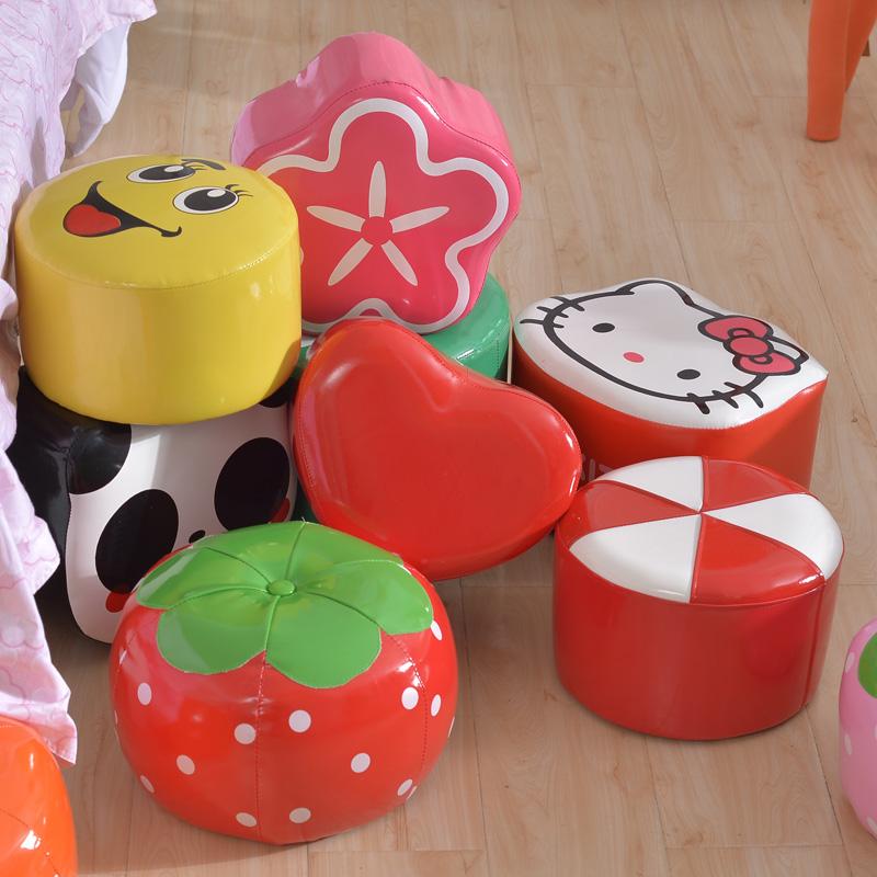 可愛寶寶兒童小沙發座椅卡通坐凳皮凳子實木家用餐桌椅圓凳