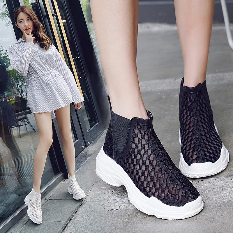包头凉鞋女夏短靴镂空网纱靴2019欧美新款透气靴子时尚街拍凉靴