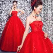 婚纱礼服新款2018春季新娘复古蕾丝双肩齐地红色钻饰韩版婚纱