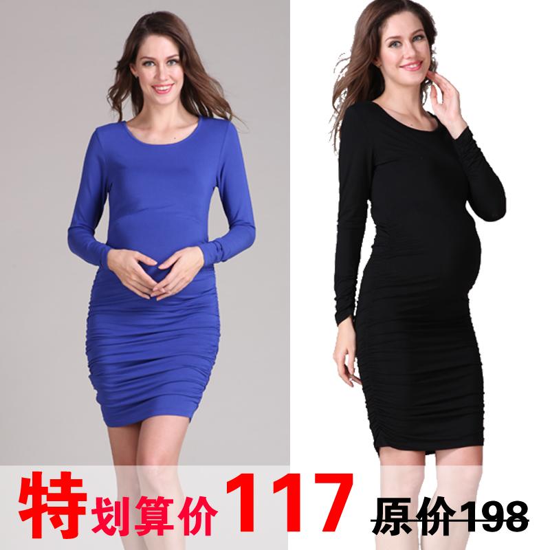 Платья для беременных женщин попадают в весной и осенью и длинными рукавами платья 2015 долго дна рубашки тонкий Европы размер горячей мама ЧАО