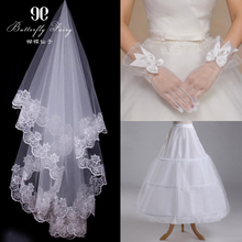 Butterfly Fairy wedding accessories accessories skirt, bridal veil, wedding gloves, petticoat, three sets, upgraded version of the package.