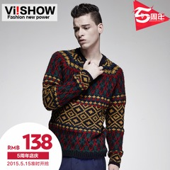 Viishow2015 new design sweater City boy wind the Pullover Sweater men's casual loose knit