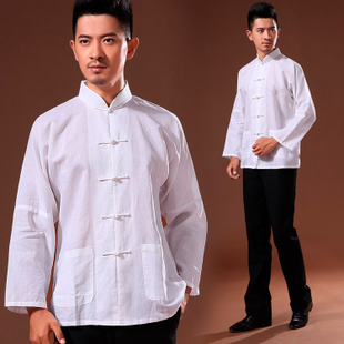 Chinese costume middle aged men s casual long sleeved shirt men s long sleeved linen costume kung fu shirt