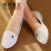 2015 spring new leather shoes with round head flat casual shoes asakuchi nurse Tilly cool metal buckle set foot feet