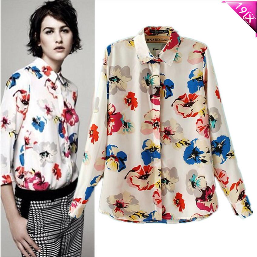 плакаты с большой Европы и 19 женщин цвет цветок качество печати лацкан длинными рукавами рубашки Блузки
