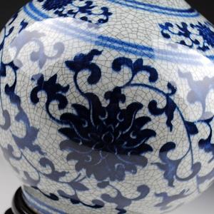 景德镇陶瓷器仿古青花瓷花瓶裂纹釉官窑石榴瓶复古家饰博古架摆件