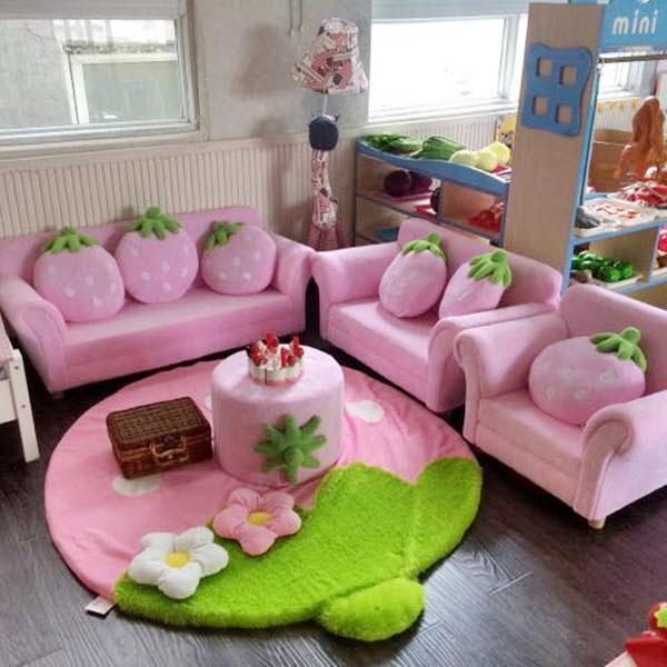 儿童沙发椅女孩幼儿园小沙发组合阅读区草莓三人宝宝粉娃娃家沙发