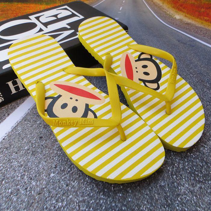夏季人字拖女平底室外韓版沙灘鞋卡通版大嘴猴涼拖鞋夾角拖女涼拖