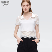 Fine white shirts with blue Lady Catherine 2015 spring/summer new sexy cocktail lace collar short sleeve chiffon shirt