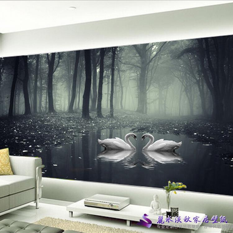 丽水淡秋客厅中式电视背景墙壁纸壁画无纺布墙纸黑夜森林天鹅意境