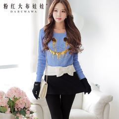 Cropped sweater pink doll new autumn 2015 Korean ladies smiling crew neck pullover