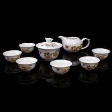 Kung fu tea set of a complete set of dehua white porcelain of jingdezhen hand ultra-thin tire set set logo printing office wholesale