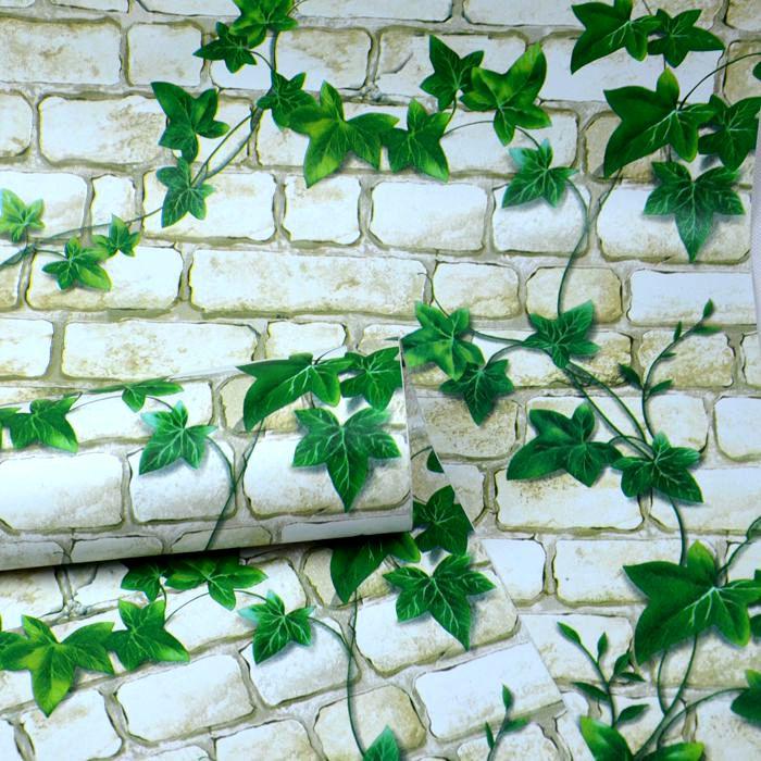 Специальное предложение ПВХ Обои самоклеящиеся водонепроницаемый мягкие стены, Деревенский кирпичный зеленый плющ Реставрация мебели