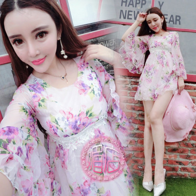 2015 new summer dresses sweet flower fairy horn sleeve wind restoring ancient ways is royal female waist chiffon skirt
