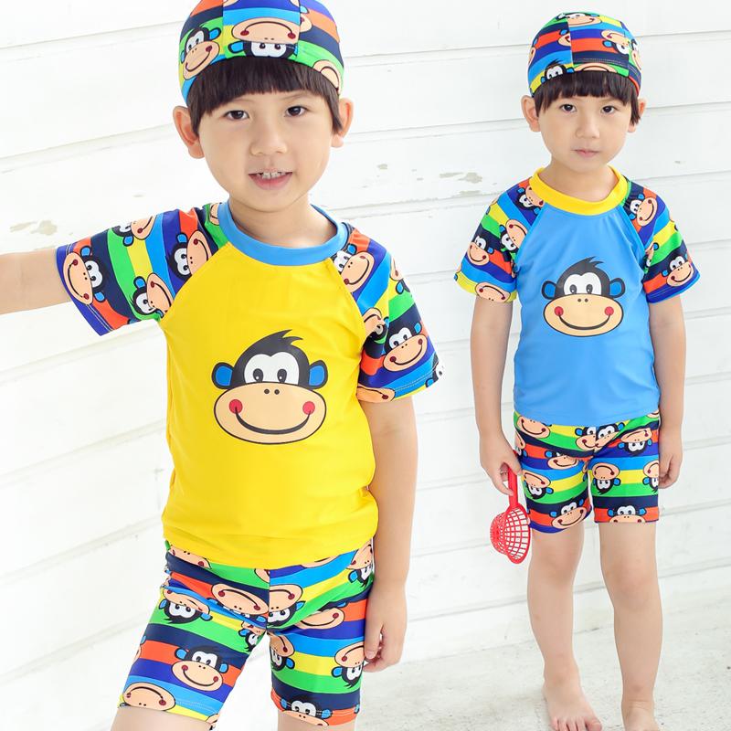 兒童泳衣 男童分體遊泳衣韓國寶寶卡通泳裝中大童泳褲套裝泡溫泉
