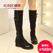 KONJIO/Kang Jiao Kang Jiao new autumn and winter boots with stretch fabric boots high heel casual Korean version of Leica
