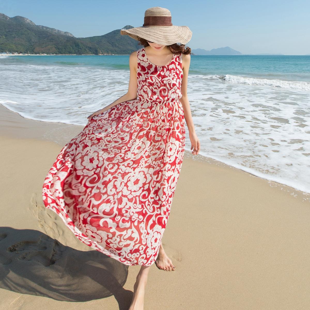 夏季拖地长裙子