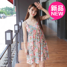Selling fresh retro womens summer flowers printed wipes bosom sexy nightgown fashion condole chiffon dress