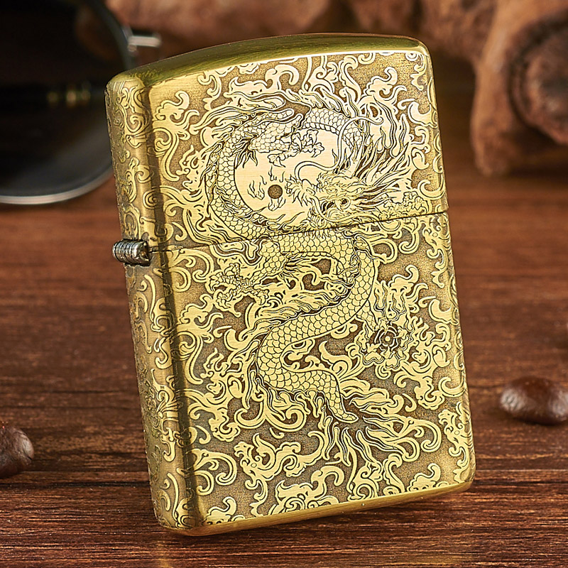 Lighter Zippo genuine pure copper armor surrounded by carved Longxiang yuntenglong zppo original genuine male