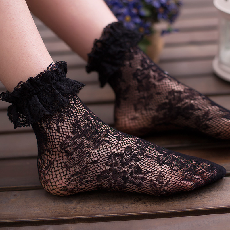 JK leg socks Lolita Lolita womens socks summer thin Japanese hollow lace pile socks lace socks children