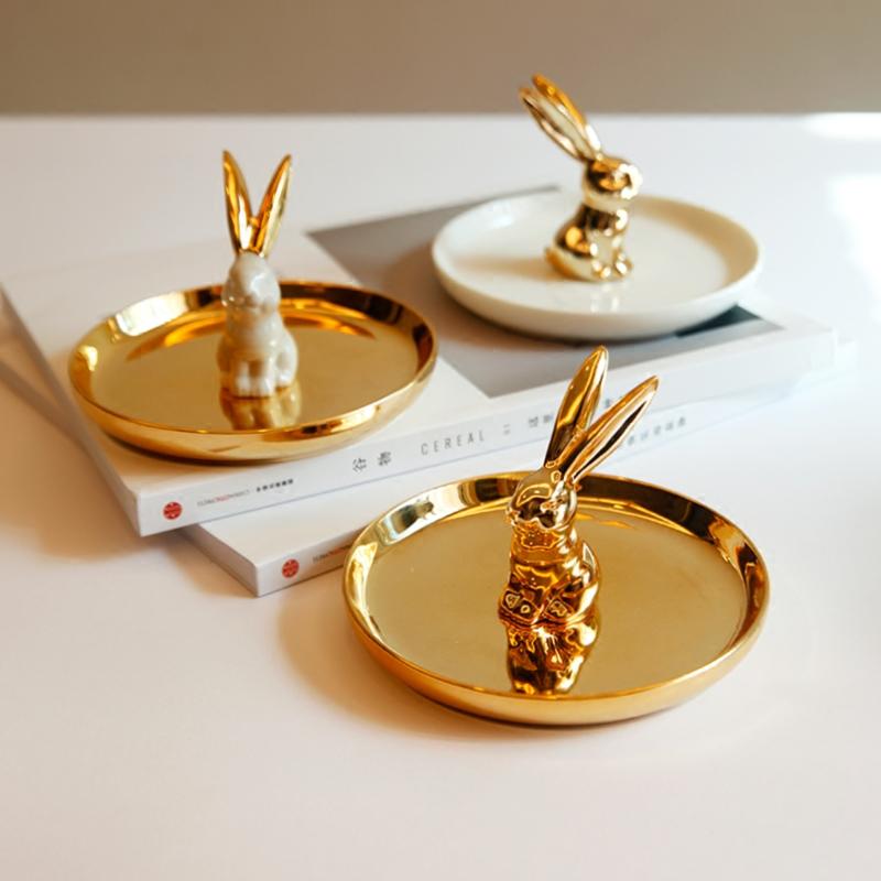 出口欧美奢华金色陶瓷兔子首饰收纳盘桌面卫浴戒指托首饰架包邮