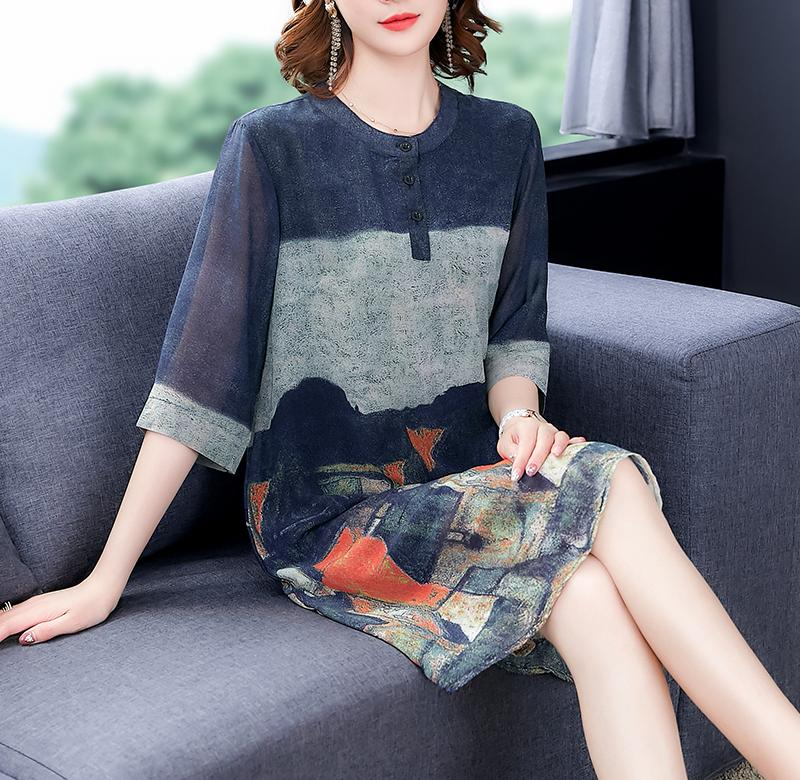 ? Summer new silk dress for middle-aged and elderly women is suitable for wide hips, thick thighs, foreign style, slim and plump skirt