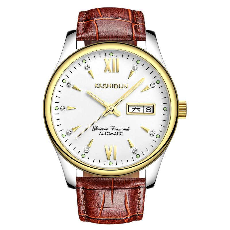 卡詩頓 全自動機械表真皮男表手表鏤空防水男士機械手表男