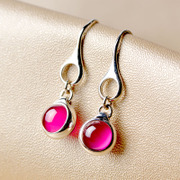 Thai Ruby long earrings 925 Silver female Switzerland imported jewelry City beauty fashion