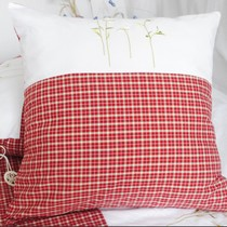 Foreign cotton bedding cotton super soft yarn-dyed red embroidered held chrysanthemums cushion pillow multi size