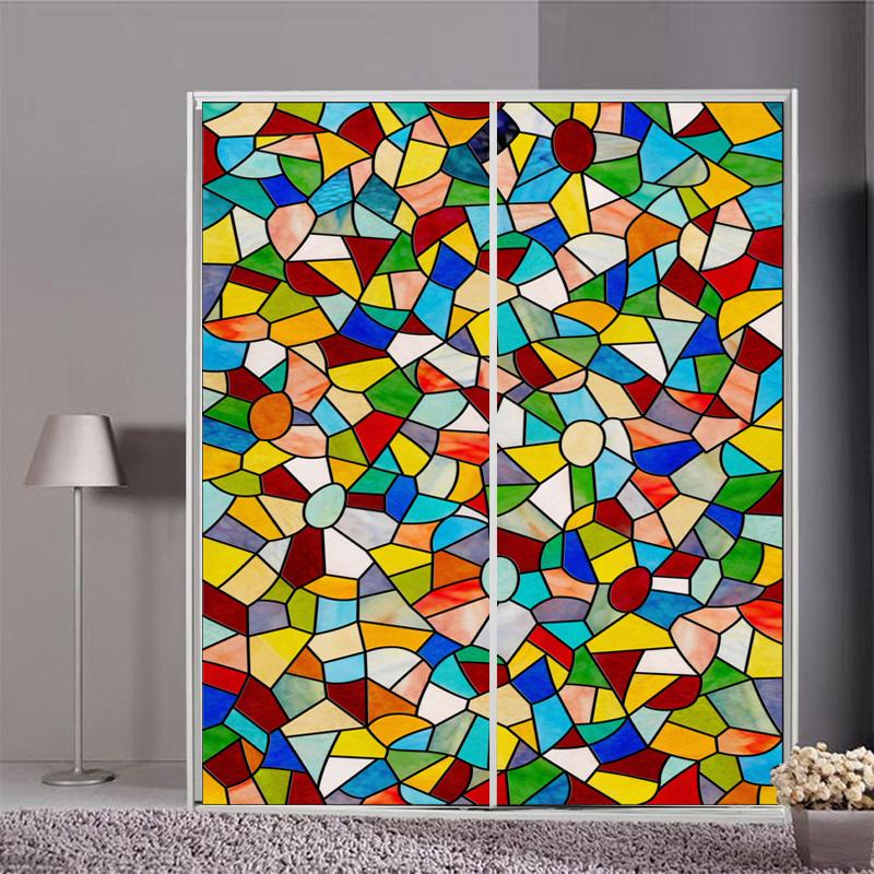 欧式彩色窗户贴 透光彩绘磨砂玻璃贴膜 教堂玻璃衣橱柜门贴纸