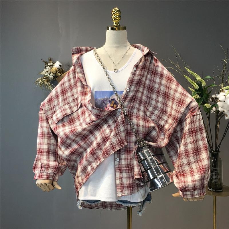 2018女装新款夏装韩版大码百搭格子衬衫外套女宽松学生衬衣上衣