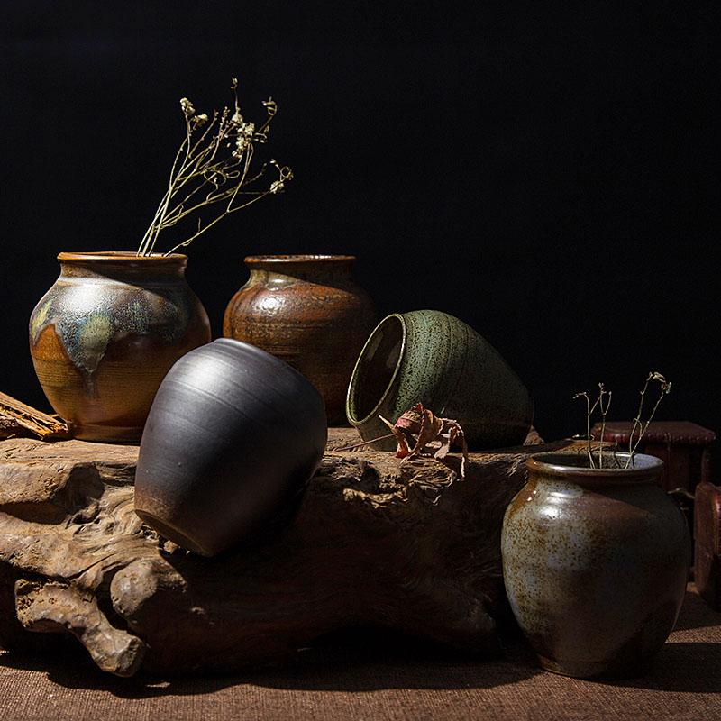 粗陶陶罐壇子花器花瓶花盆陶瓷土陶做舊仿古迷你型花插擺件
