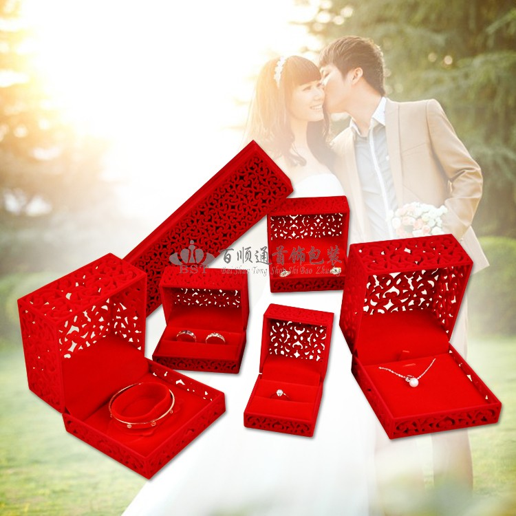 2019 high quality hollow out red jewelry packing box Jewelry Ring Bracelet Wedding gold box storage watch recommendation