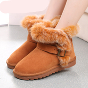 2015 winter snow boots short tube tidal flat fall boots leather boots shoes women winter boots flat boots with Scrubs