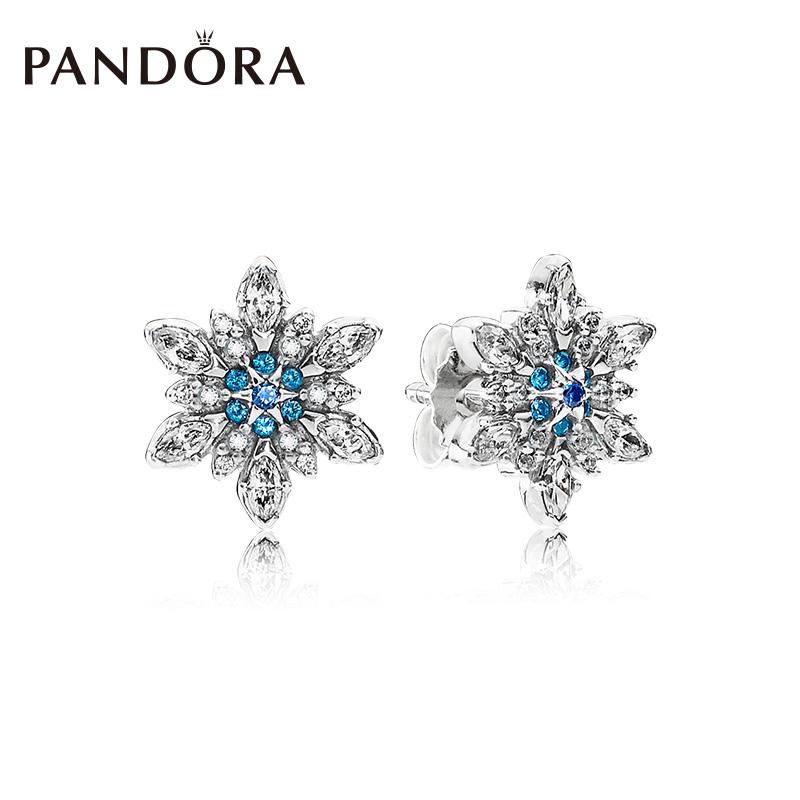 PANDORA пандора официальный прямо продавать кристалл снежинка синий 925 дрожалка гвоздь 290590NBLMX