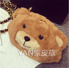 YAN fur high-end custom The global hot INS red love lovely fashionable BS264 bear bag