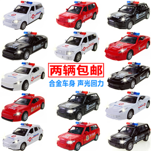 A variety of optional children s gift alloy police car lights bright sound can open the door alloy car models back to power