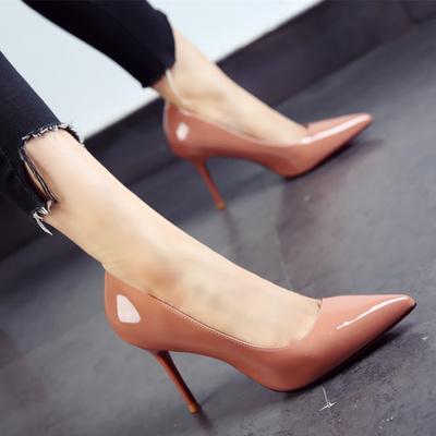 韩版糖果色女鞋2019春秋新款尖头鞋漆皮简约细跟高跟鞋单鞋女黑色