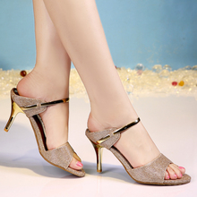 2015 new slippers female one word high-heeled sandals fine summer with sandals with 33 small yards sexy female shoes