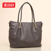 Wheat bags new weave pattern PU women bag in Europe and the big trends handbags shoulder-slung bulk bag