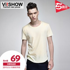 Viishow men's spring/summer 2015 pure cotton round neck short wings print men's short sleeve t shirt cotton t man