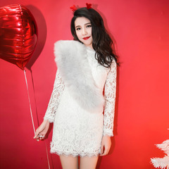 QUEENZZ Europe and the socialite winds 2014 cashmere new liner in autumn and winter plus slimming sexy lace dress #
